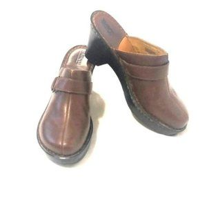 Born Anna Brown Leather Wedge Mules Size 9